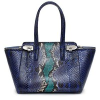 Salvatore Ferragamo Python Verve Tote Purple Silver Bag New