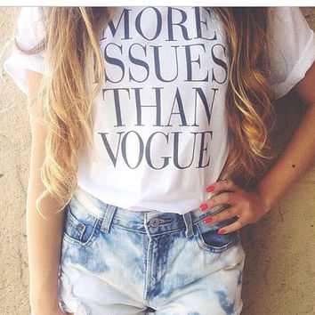 vogue t shirt black celine celfie top hipster swag dope wasted unisex all colours magazine more issues fashion