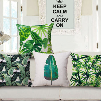 Fashion High Quality Cotton Linen Africa Tropical Plant Banana Leaf  Decorative