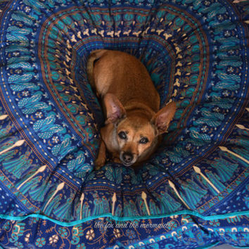 Huge mandala tapestry dog bed, mandala cushion cover, boho floor pillow, bohemian floor cushion, boho seating, boho decor, boho dog bed