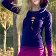 Ombre Long-Sleeve Hoodie Shirt