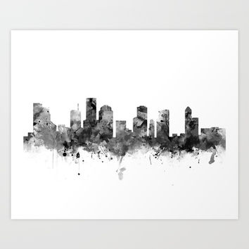 Houston Skyline Black and White Art Print by monnprint