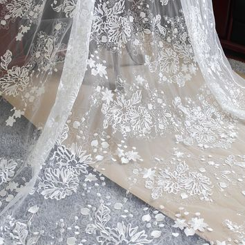 """53"""" Width Off White Floral Embroidery Mesh Lace Fabric With Sequins Dotted Wedding Dress Bridal Tulle Lace Fabric By the yard"""