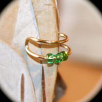 Gold Ear Cuff Wrap Cartilage Non Pierced Wire Wrapped Green Beaded Cuff Gift
