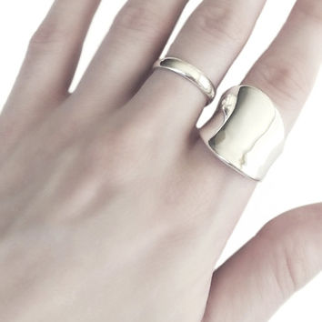 Wide Curved Silver Ring, 925 Sterling Silver Rings, Thumb Ring Band, Women's Statement Jewelry, Stacking Rings, Minimalist Jewelry