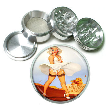 "Vintage Sexy PinUp Girl 4 Piece Silver Alumium Grinder 2.5"" Windy Acres Dress Wind"