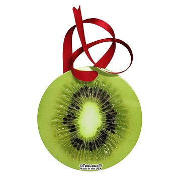 Kiwi Fruit Circular Metal Ornament All Over Print by TooLoud