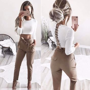 Lace Up Back Sexy Long sleeve T-shirts For Women O Neck Crisscross Fashion Cropped T Shirt New 2017 Autumn Hollow Out Crop Tops