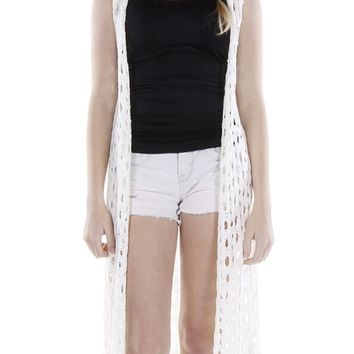 White Crocheted Long Coverup Vest