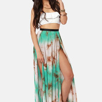 Gypsy Junkies Oceana High Slit Tie-Dye Maxi Skirt