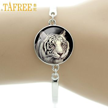 TAFREE Brand Fashion wild animal White Bengal Tiger Siberian Tiger bracelet vintage Halloween Witch Raven women jewelry NS570
