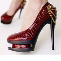 Red Alligator Goth Punk Platform Stilettos Evening Party Shoes Women SKU-1090130