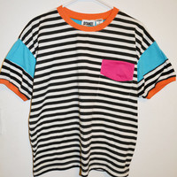 80's Saved By The Bell Striped Shirt