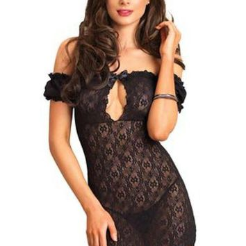 Lace Off The Shoulder Chemise With Keyhole Bodice In Black