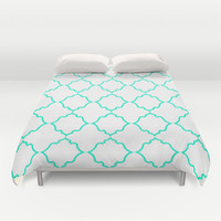 Moroccan White and Aqua Duvet Cover by House Of Jennifer