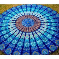 Buy Hippie Round Tapestry Mandala Yoga Mat Rug in Blue