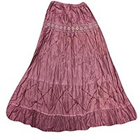Mogul Womens Long Skirts Pink Lacework Broomstick Flirty Boho Gypsy Maxi Skirts