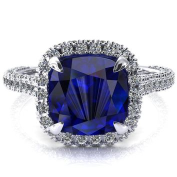 Taniya Cushion Blue Sapphire 4 Claw Prong Halo 3/4 Eternity 3 Sided Diamond Shank Cathedral Engagement Ring