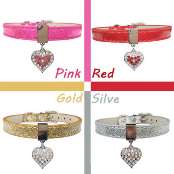 Bling Rhinestone Heart Charm Dog Collar for Cat Small Adjustable Pu Leather Pet Dog Puppy Cat Collar Necklace pet product 4color