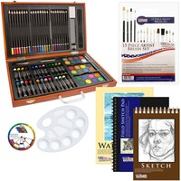 US Art Supply 82 Piece Deluxe Art Creativity Set in Wooden Case with BONUS 20 additional pieces - Deluxe Art Set 102-Piece Deluxe Bonus Set