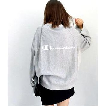 Champion Fashion Women Long Sleve Back Letter Print SweaterShirt Grey