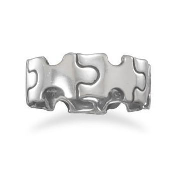 Oxidized 925 Sterling Silver Puzzle Piece Ring - Size 5