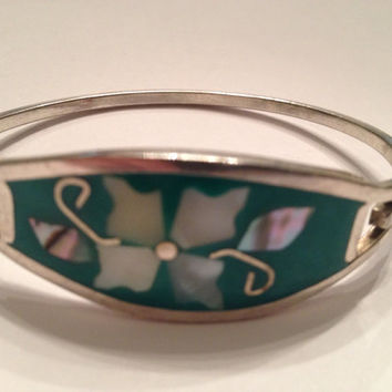 Vintage Alpaca Silver Bracelet Green Flower Inlay Mother of Pearl Abalone
