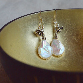 Sakura earrings Huge baroque pearl earrings Silver flower blossom earrings Asian style Big white pearl dangle earrings Boho pearl jewellery