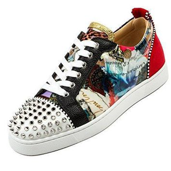Wiberlux Christian Louboutin Men's Spike Stud Detail Patterned Sneakers