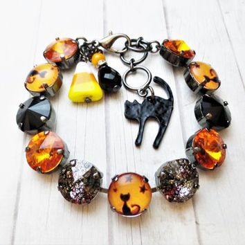 Halloween Bracelet, Black Cat, Swarovski, Fall, Orange, Black, Holiday, 12mm, DKSJewelrydesigns, FREE SHIPPING