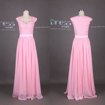 Pink Sweetheart Cap Sleeves Lace Long Prom Dress/2015 Sweet 16 Dresses/Lace Bridesmaid Dress/Lace Chiffon Wedding Party Dress DH337