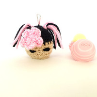 Kokeshi Girl EOS Holder/eos Lip Balm Cozy/eos/Kawaii/EOS Holder/eos cozy/ Pink EOS Cozy- with Clip