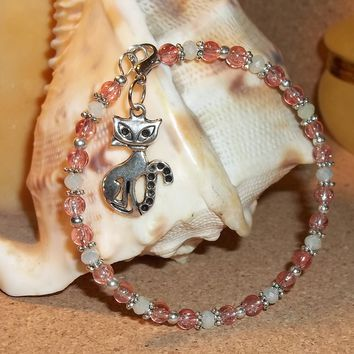 Cat Opaque White & Salmon Pink Glass Beaded Hand Crafted Charm Bangle Bracelet