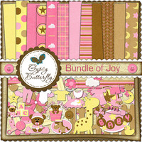 Digital Scrapbooking kit - Bundle of Joy - baby girl clipart and digital papers