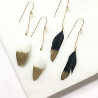 Gold Dipped Feather Earrings - 2 Colors