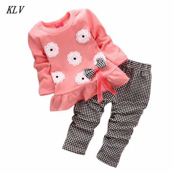KLV Hot Fashion Long Sleeve Baby Girl Clothing Suit Sets Children Clothing Sets Newborn Baby Clothes Two Piece Set