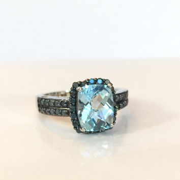 Blue Topaz Ring / Blue Diamond 3 CT / Vintage Sterling Silver Band / Gemstone Anniversary Ring / Antique Estate Jewelry / Bridal Wedding