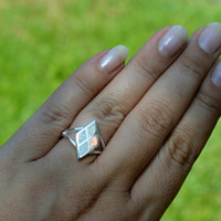 Size 6 Sterling Silver White Lab-Created Opal Ring - White Opal Silver Ring -Lab Created White Opal Ring - Trendy Ring