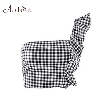 ArtSu Summer 2018 Sexy Ruffles Plaid Tank Top Women Off Shoulder Backless Beach Crop Top Streetwear Fashion ASVE20107