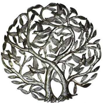 Haitian Steel Double Tree of LIFE  24 inch  Metal Wall Hanging Sculpture