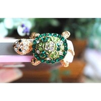 Dust Plug- Earphone Jack Accessories Crystal Lovely Green Turtle/ Cell Charms / Ear Jack for Iphone 4 4s / Ipad / Ipod Touch / Other 3.5mm Ear Jack (With Cutely Gift Box)