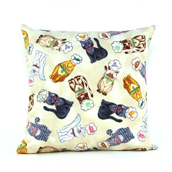 Hungry Cats Throw Pillow