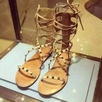 2017 summer hot selling rivets studded flat boots sexy nude leather lace-up gladiator sandal cutouts cross-tied shoes
