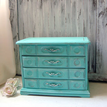Aqua Vintage Jewelry Box, Teal Distressed Wooden Jewelry Holder, Shabby Chic, Beach Cottage Jewelry Chest, Gift Ideas