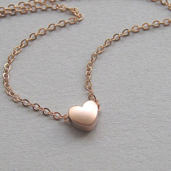Rose gold heart necklace, tiny pink gold heart, small dainty petite simple modern minimalist