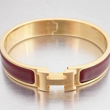 *SALE from $468 to $421* HERMES Clic Clac Bangle Bracelet Burgundy/Gold - e34390