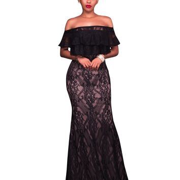 Black Lace Long Evening Dress with Off Shoulders