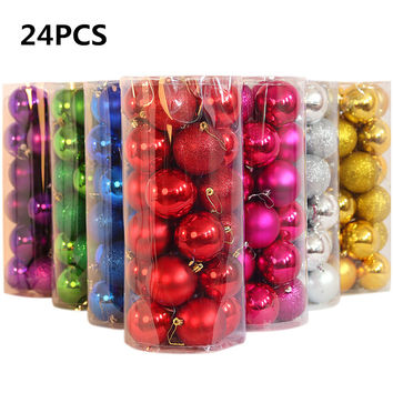 24pcs/ lot Christmas Tree Decor Ball Bauble Hanging Xmas Party Ornament decorations for Home Christmas decorations