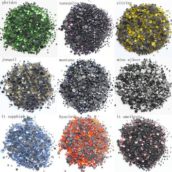 Free shipping 2500pcs/lot Mix Size Rhinestones Shiny Crystals And Stones Strass Stone Flatback Hotfix Rhinestone For Clothes