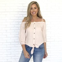 Good Vibes Only Off Shoulder Blouse In Blush